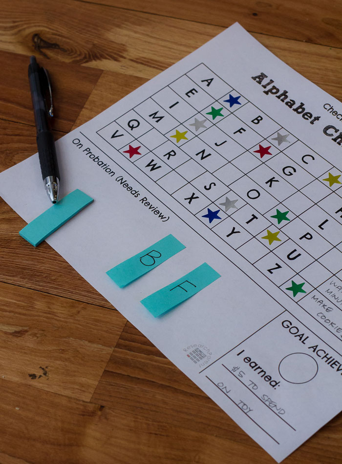 Alphabet Star Chart Probation