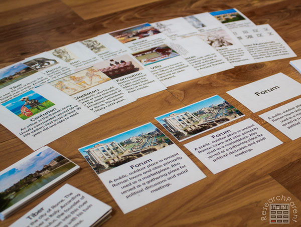 Ancient Rome Definition Cards Close-Up