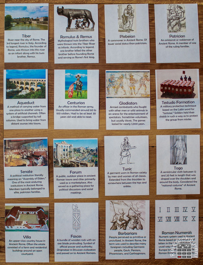 Ancient Rome Definition Cards Full Set