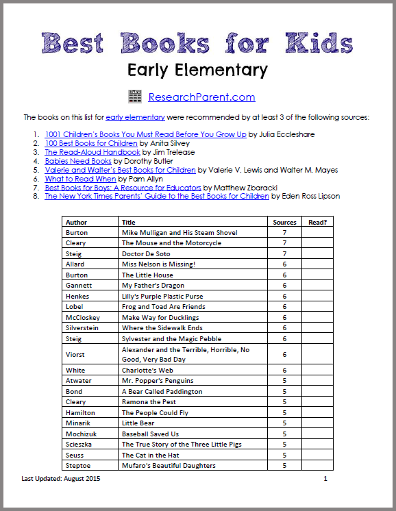 Best Books for Early Elementary