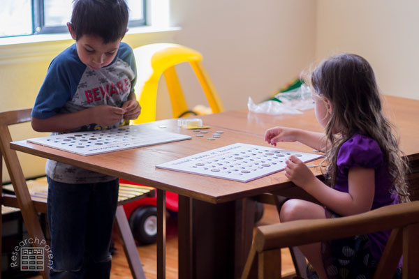 Kids using collection board