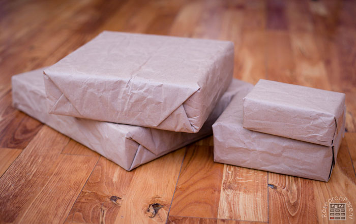 Wrap up the boxes in brown paper