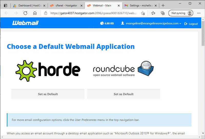 Choose a Default Webmail Application