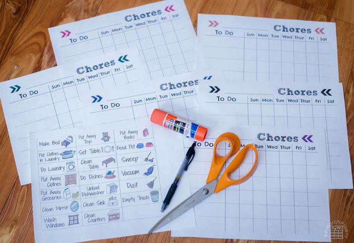 Illustrated Chore Checklist Supplies