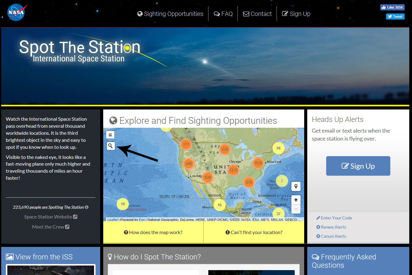 NASA's Spot the Station website
