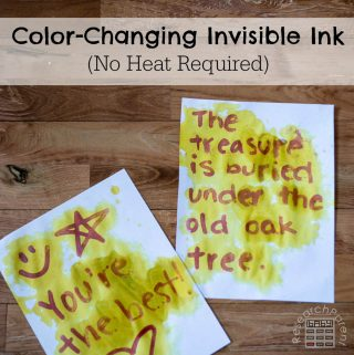 Color-changing invisible ink no heat required