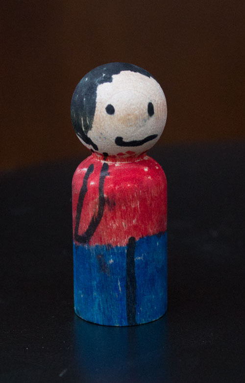 Colored Wooden Peg Doll