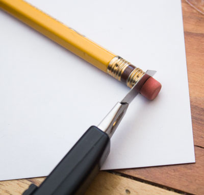 Cut the eraser off the pencil