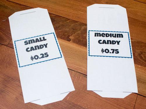 Cut food labels in half