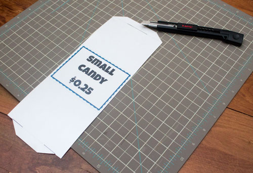 Cut slots and tabs on food labels