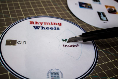 Use X-Acto Knife to Cut Rhyming Wheels