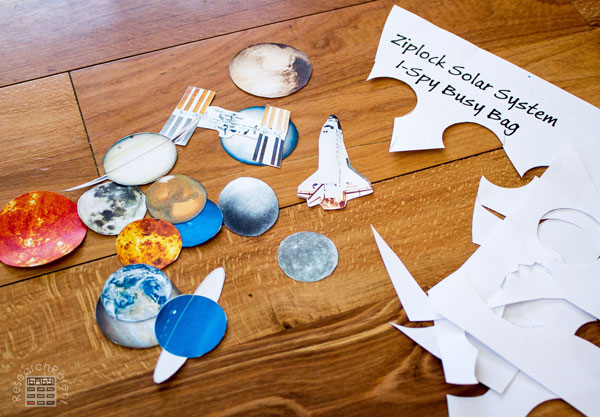 Cut out Pieces for Solar System I-Spy Busy Bag