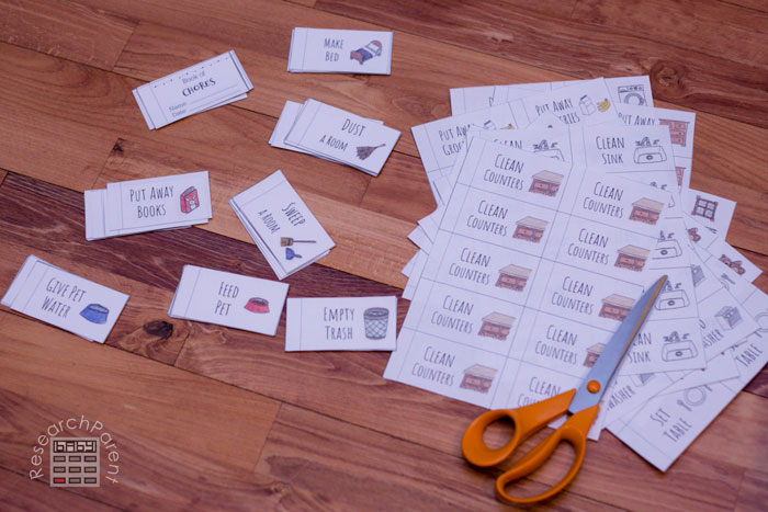 Cut out chore coupon book pages