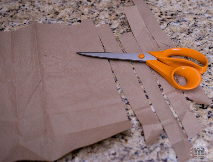 Cut bag into strips