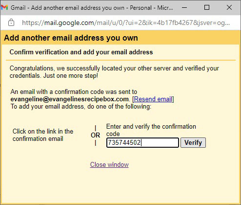 Enter Gmail Verification Code