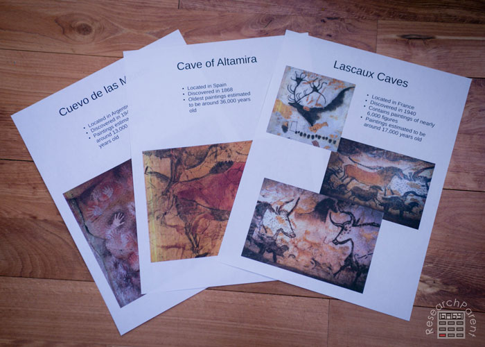 Free printable cave painting inspiration sheets