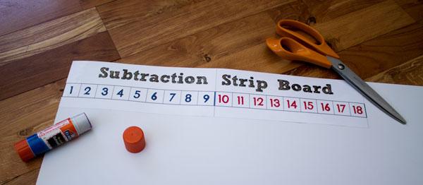 Glue Subtraction Strip Board to Poster Board