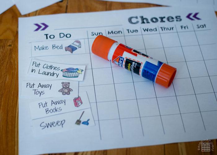 Glue desired chores onto checklist