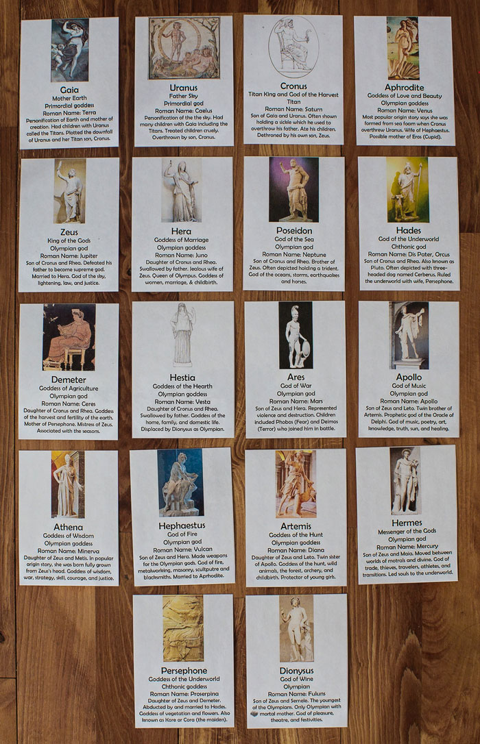 Greek Mythology God and Goddess Cards Full Set