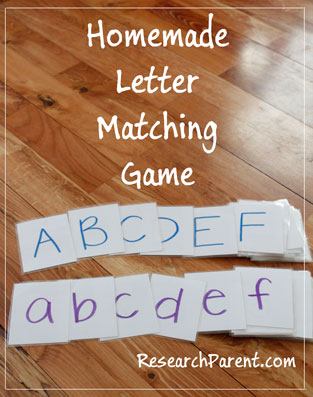 Homemade Letter Matching Game by ResearchParent.com