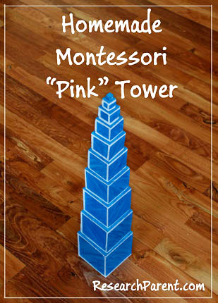 Homemade Montessori Pink Tower by ResearchParent.com