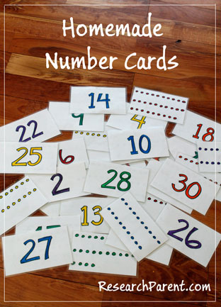 Homemade Number Cards by ResearchParent.com