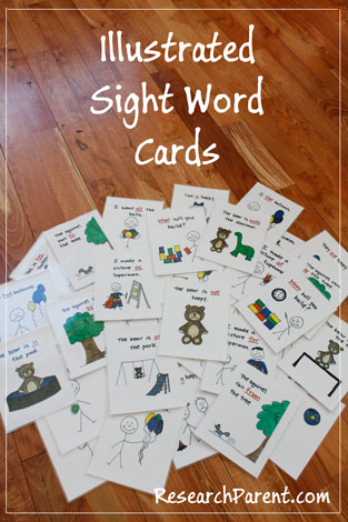 Illustrated Sight Word Cards by ResearchParent.com