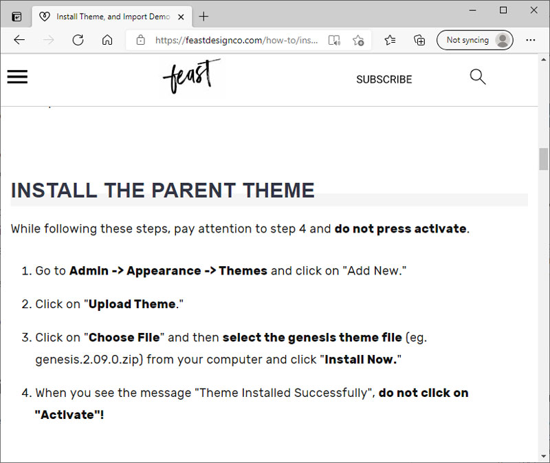 Install the parent theme