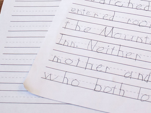 Lined Paper for Young Writers Close-Up