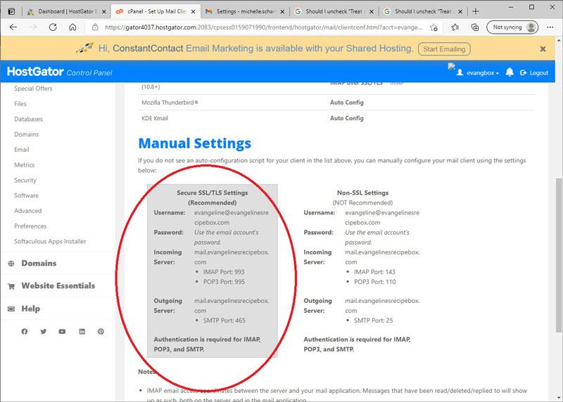 Manual Email Settings