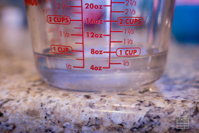 Measure 3 fourths cup water