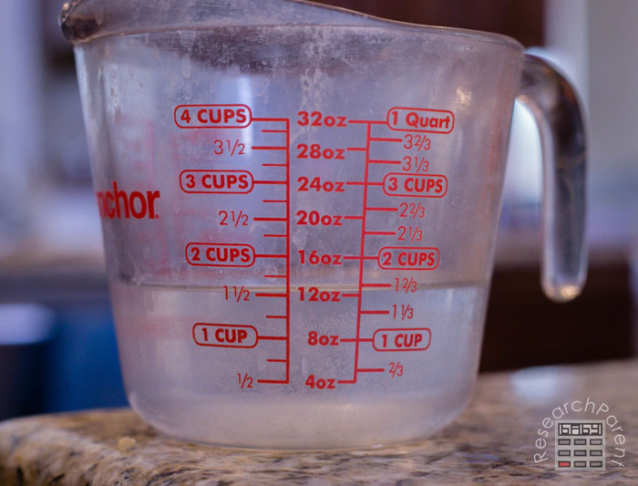 Measure 1.5 cups of warm water