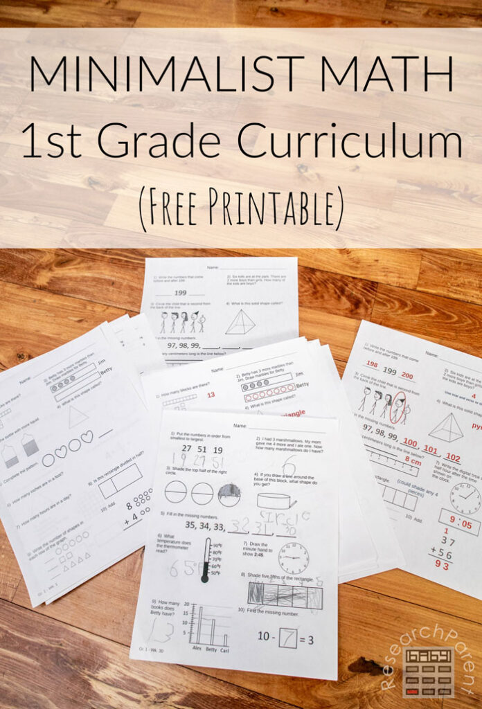 Minimalist Math Curriculum - First Grade