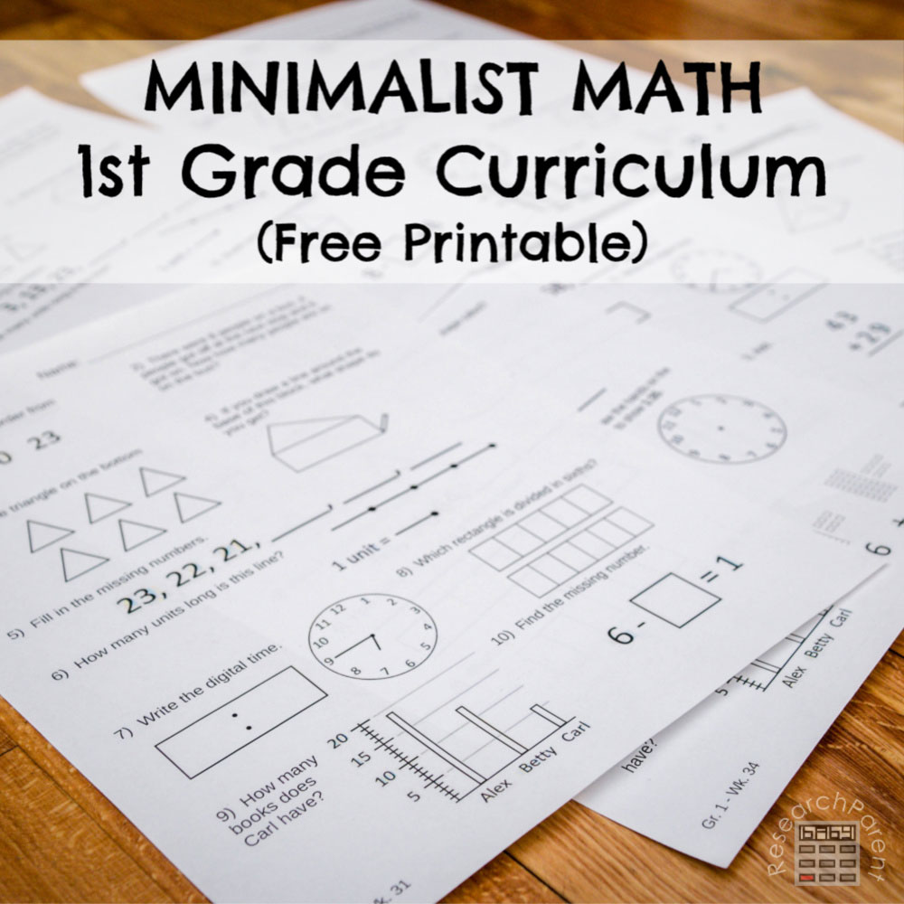 Minimalist Math Curriculum - First Grade