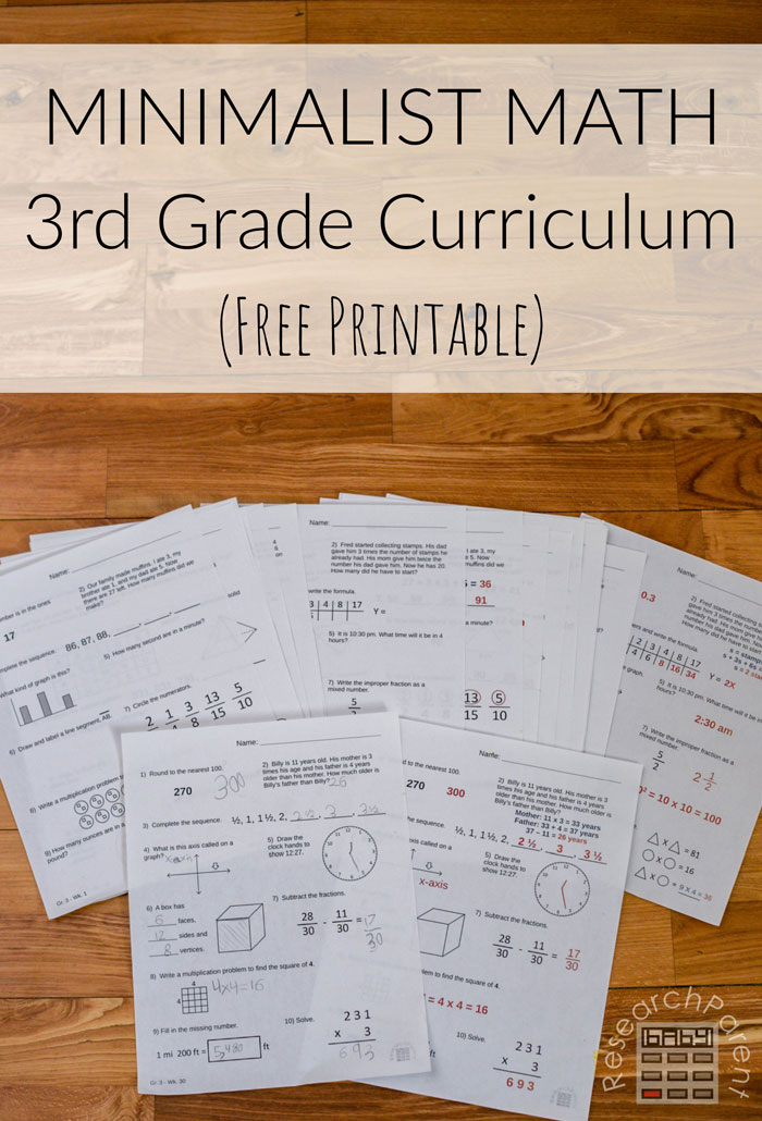 Minimalist Math Third Grade Curriculum Free Printable