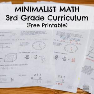 Minimalist Math Third Grade Free Curriculum