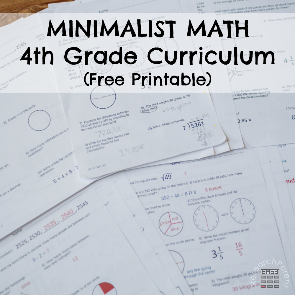 Minimalist Math Curriculum Fourth Grade