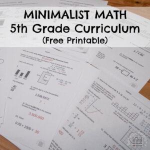 5th Grade Minimalist Math Curriculum Square