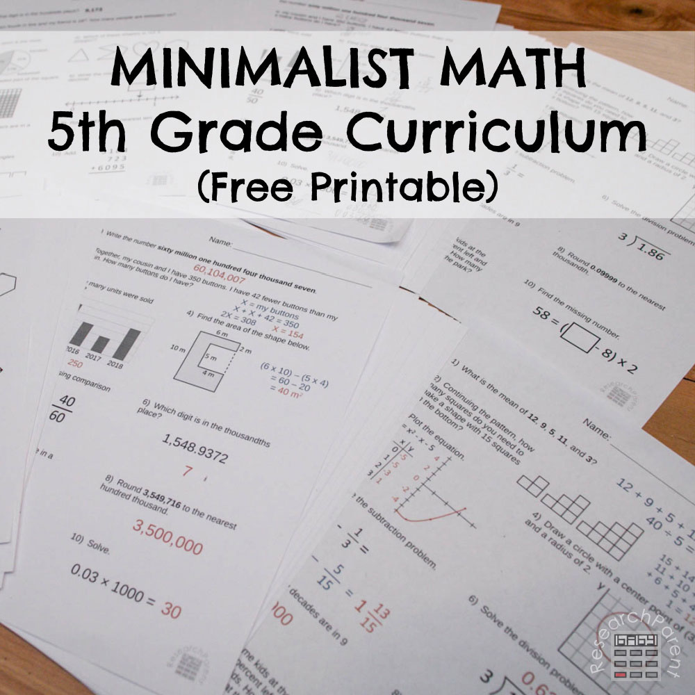 5th Grade Minimalist Math Curriculum Square