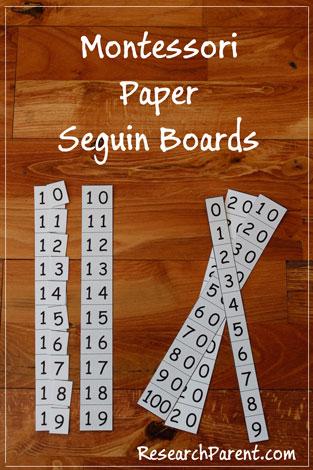 Montessori Paper Seguin Boards by ResearchParent.com