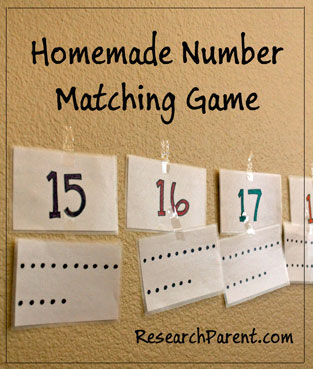 Homemade Number Matching Game by ResearchParent.com