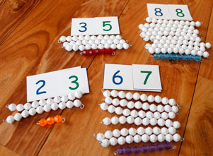 Number Symbol Cards with Colored and White Beads
