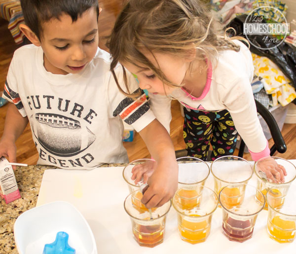 Kids performing color changing acid-base experiment
