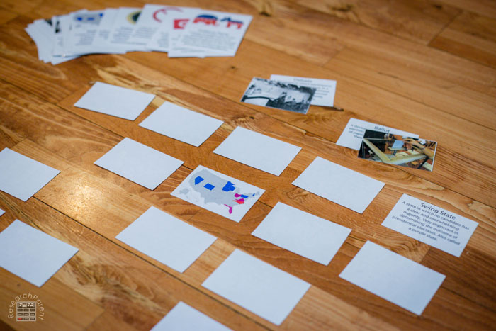 Memory style matching game with presidential election cards