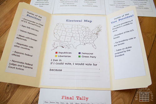 U.S. Presidential Election Lap Book Electoral Map