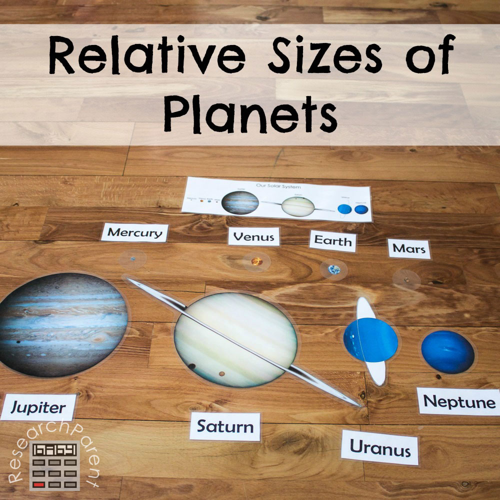 picture about Printable Planets to Scale called Relative Measurements of Planets -