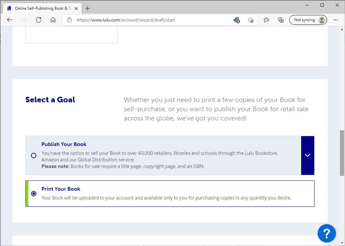 Select a Goal for Your Book