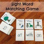DIY Sight Word Matching Game