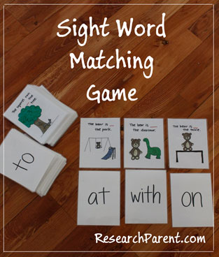 Sight Word Matching Game by ResearchParent.com