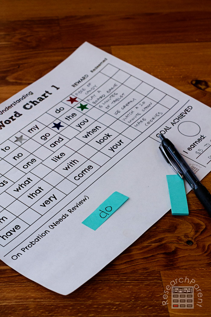 Sight Word Star Chart Probation Area
